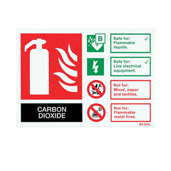 Self-Adhesive Landscape CO2 Extinguisher Identification Sign - SD Fire Alarms