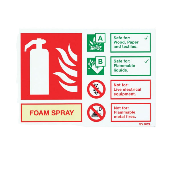 Self-Adhesive Landscape Foam Extinguisher Identification Sign