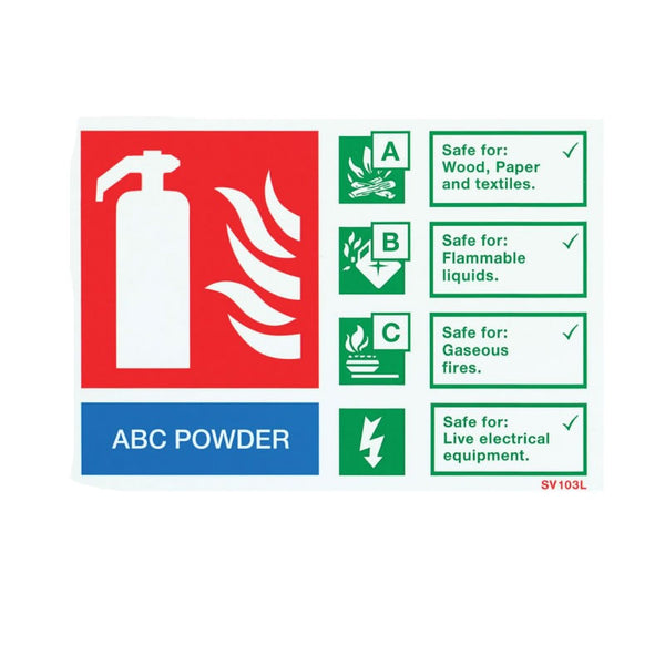 Self-Adhesive Landscape Dry Powder Extinguisher Identification Sign