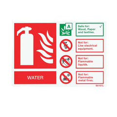Self-Adhesive Landscape Water Extinguisher Identification Sign - SD Fire Alarms