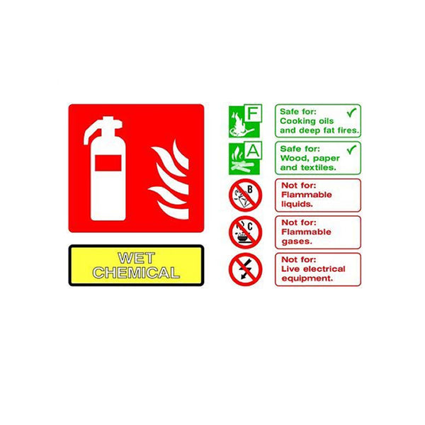 Self-Adhesive Landscape Wet Chemical Extinguisher Identification Sign