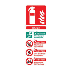 Self-Adhesive Portrait Water Extinguisher Identification Sign - SD Fire Alarms