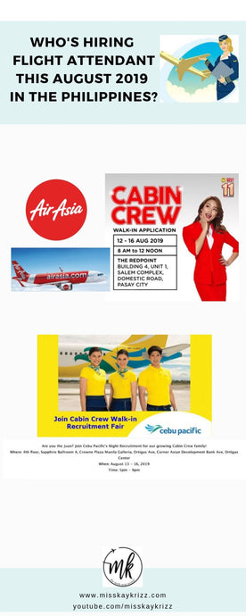 Who's hiring Flight Attendant this August 2019 in the Philippines?