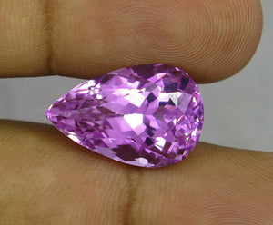 Flawless 19.16 CT Pear Shape Natural Pink Kunzite from Afghanistan.