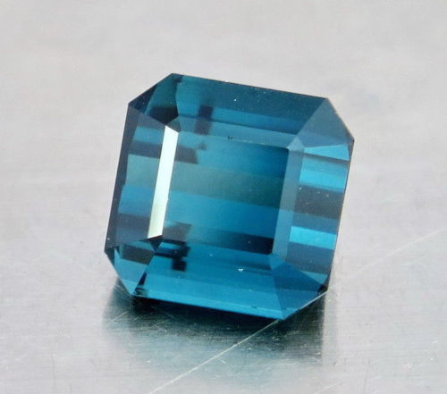 FL 6.30 Carats Top Quality Perfect Square Emerald Cut Blue Natural Tourmaline.