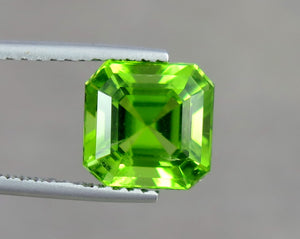 VVS 4.13 Carats Excellent Asscher Cut Green Peridot from Supat Mine Pakistan.