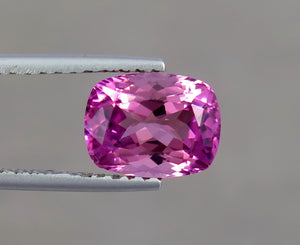Flawless 2.26 Carats Natural Pink Cushion Shape Tourmaline Gemstone from Afghanistan.