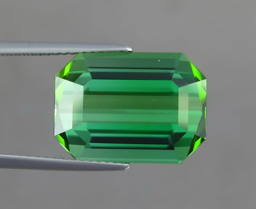 Flawless 13.40 CT Excellent Emerald Cut Natural Green Tourmaline Gemstone from Afghanistan.