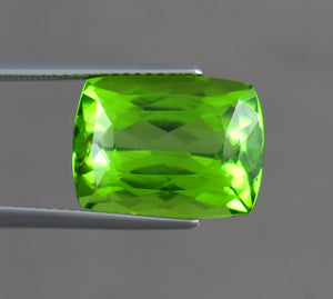 VVS 11 Carats Cushion Shpae Natural Green Peridot from Supat Mine Pakistan.