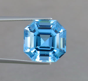 Flawless 20.95 Carats Excellent Asscher Cut Swiss Blue Topaz.