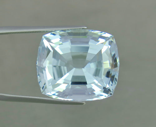 Flawless 30.50 CT Aqua Blue Color Perfect Cushion Shape Aquamarine from Skardu Pakistan.