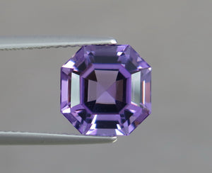 Flawless 3.58 CT Excellent Asscher Cut Natural Amethyst Gemstone.