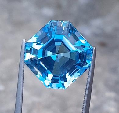 Flawless 21.40 Carats Excellent Asscher Cut Swiss Blue Topaz.