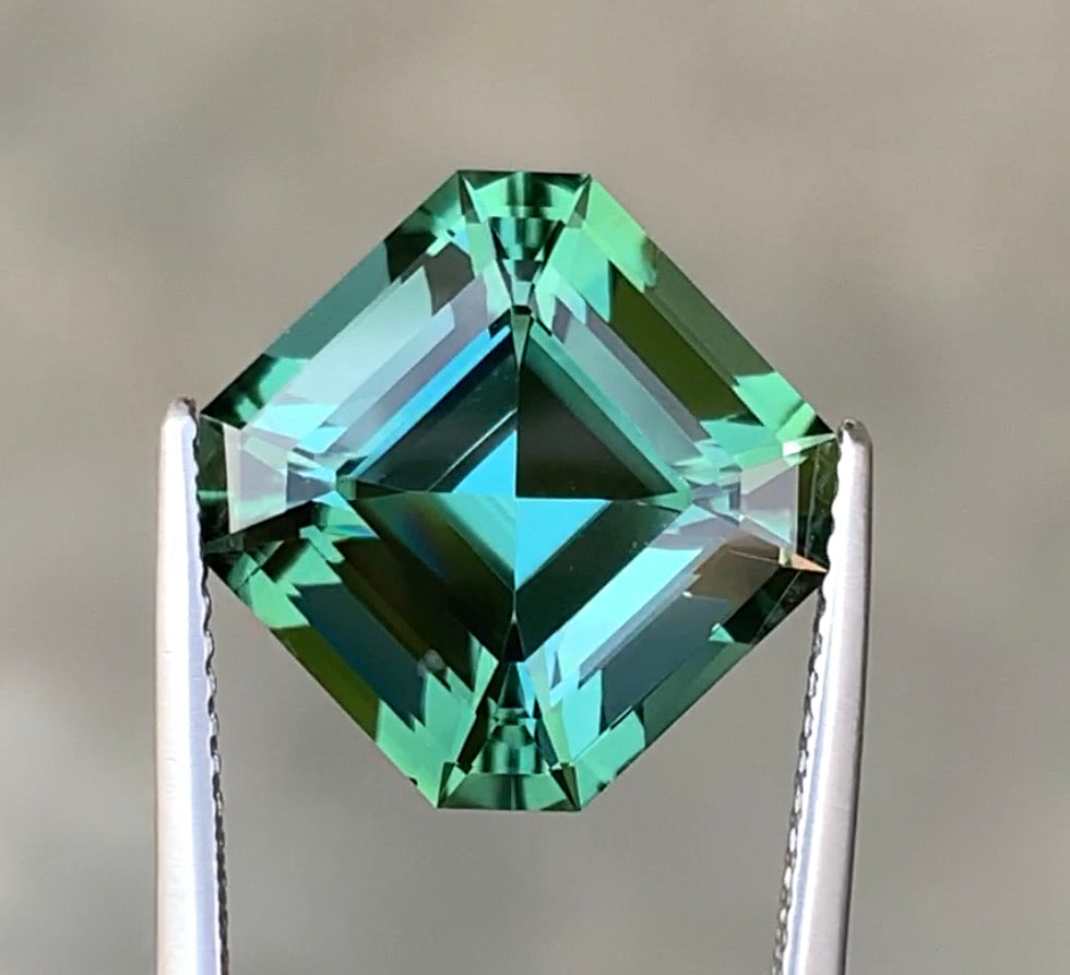 8.20 CT Excellent Asscher Cut Natural Mint Tourmaline.
