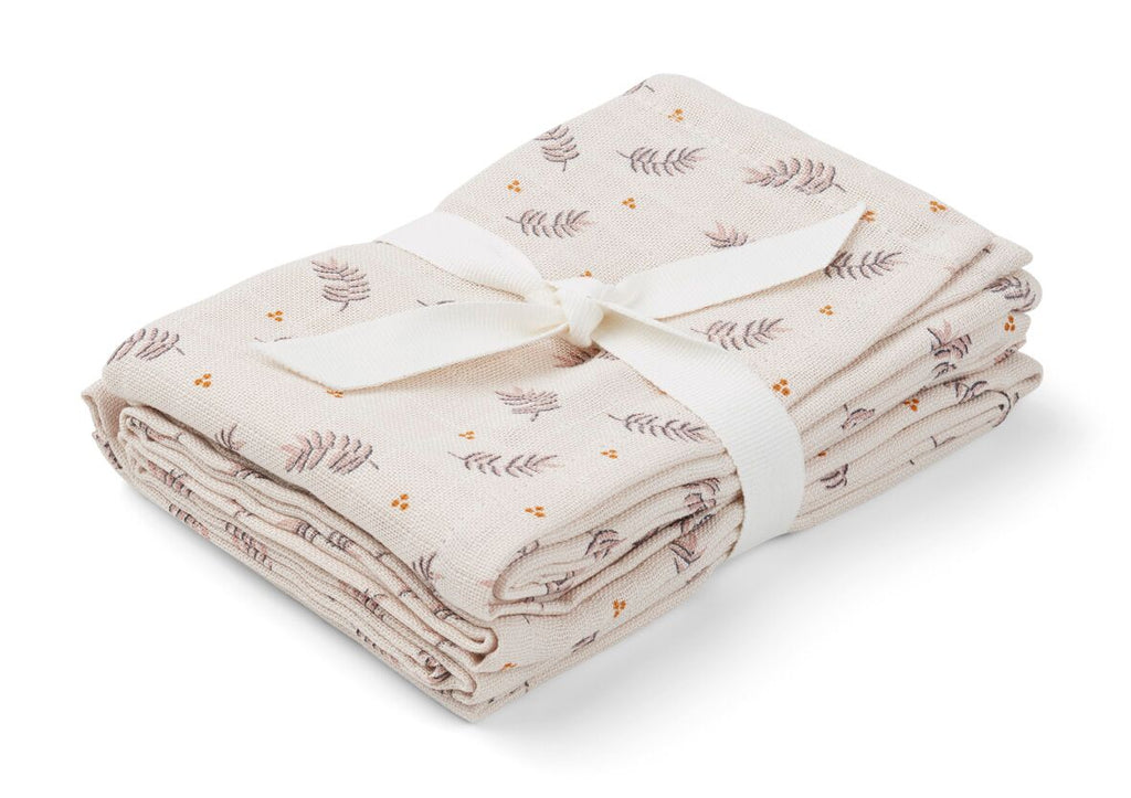 Hannah Muslin Cloth Print 2 Pack  - Fern/Rose - jacksplot