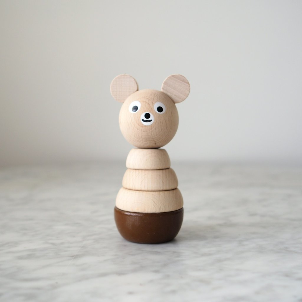 Wooden Bear - Stacking Rings Toy - jacksplot