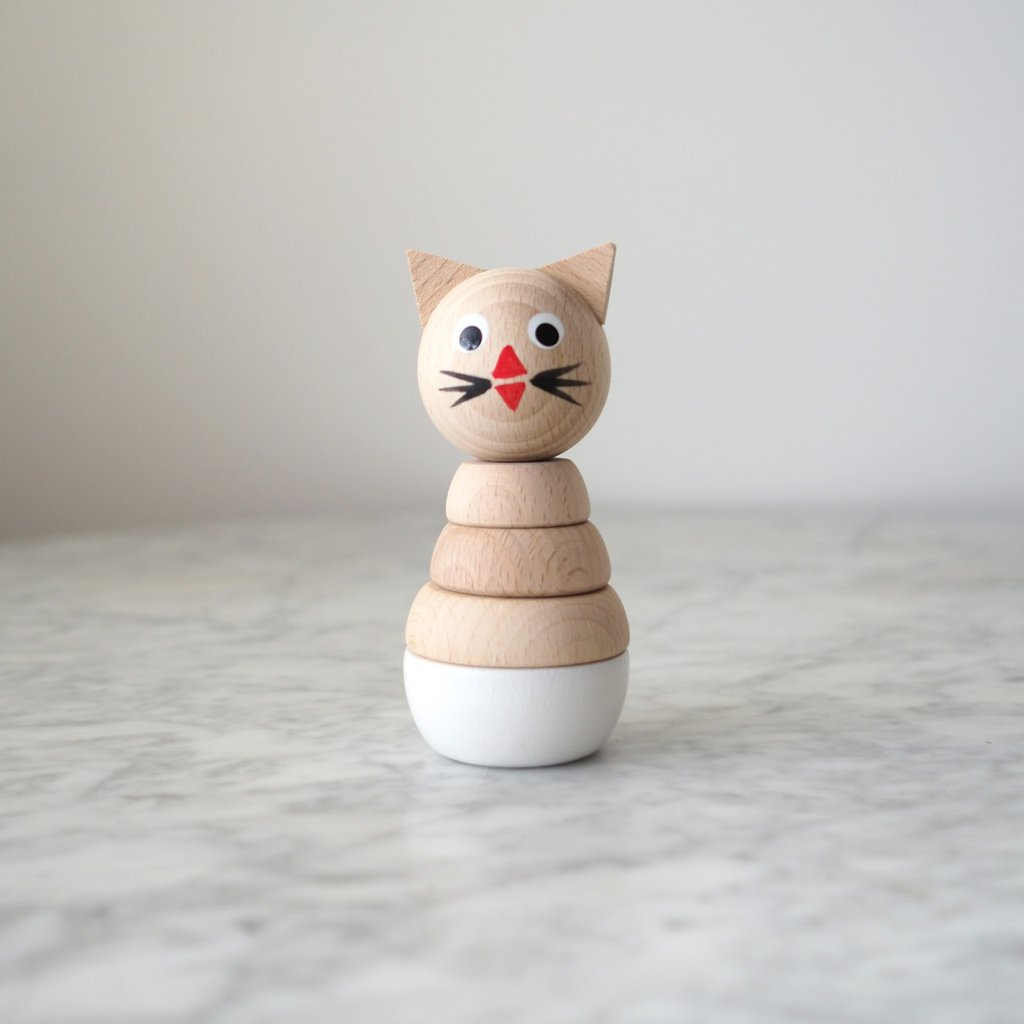 Wooden Cat - Stacking Rings Toy - jacksplot