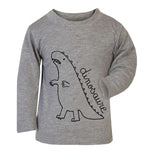 Grey French Dinosaure Top - Long Sleeve - jacksplot