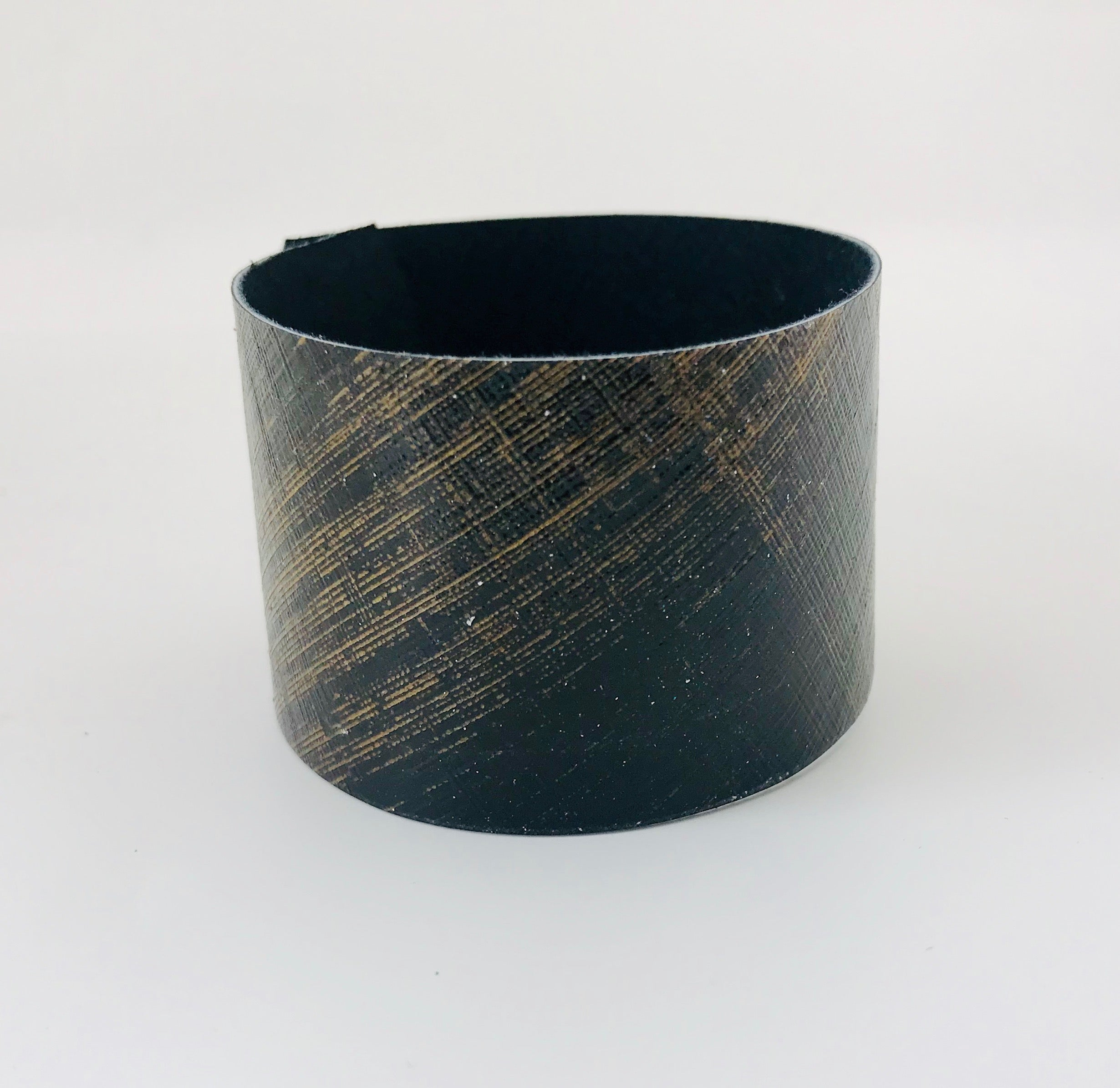 Gold Lattice Leather Cuff