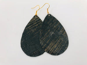 Gold Lattice Leather Earrings