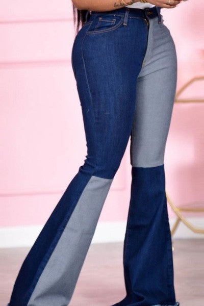 Serrill Color Block Flare Jeans