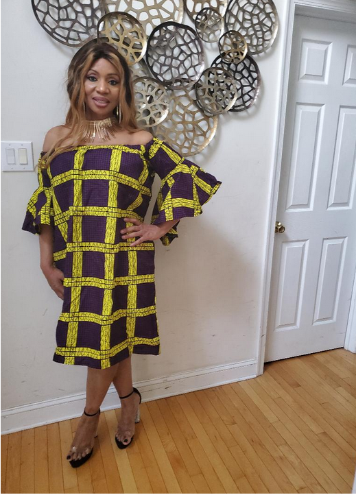 Amara Off Shoulder African Print Dress