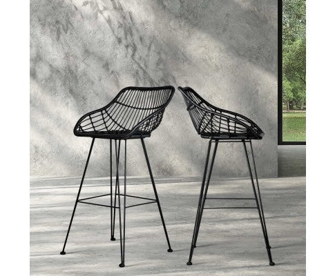 Artiss Set of 2 PE Wicker Bar Stools - Black