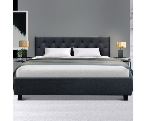Artiss Queen Size Bed Frame Base Mattress Fabric Wooden Charcoal VANKE