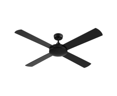 Devanti 52 inch (130cm) Ceiling Fan Wall Control 4 Wooden Blades - Black