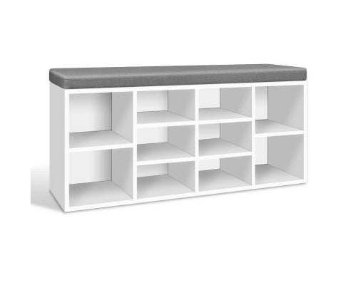 Artiss Fabric Shoe Bench with Storage Cubes - White