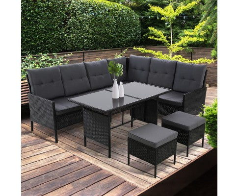 Outdoor Sofa Set Patio Furniture Lounge Table Wicker Black