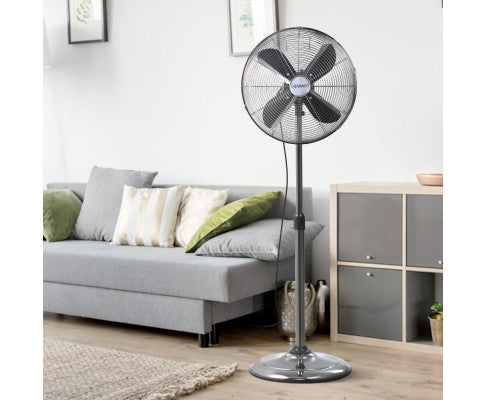 Devanti Metal Pedestal Fan, Vintage & Portable - Chrome 3 Speed Black