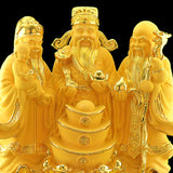 Feng Shui Resin Golden Fu Lu Shou On Stand