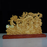 Feng Shui Boxwood and Thuja Sutchuenensis Wood Eight Immortals Cross the Sea