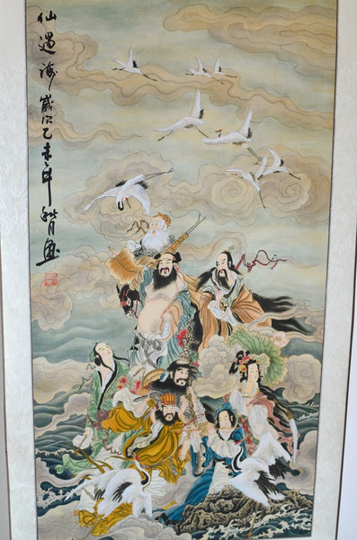 Feng Shui Eight Immortals Cross the Sea Silk Paper Scroll Chinese Painting