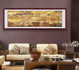 Chinese Qingming Shanghe Map Painting with Wood Frame
