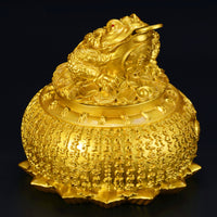 Feng Shui Brass Money Frog on Treasure with Coin
