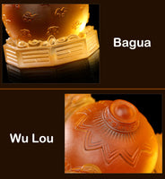 Feng Shui Glass Three Legged Toad Money Frogs  on Bagua with Coin