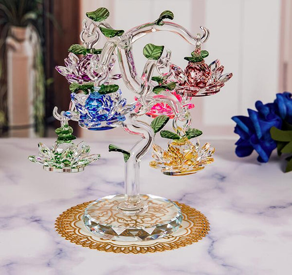 Feng Shui Lotus Flower Crystal Tree