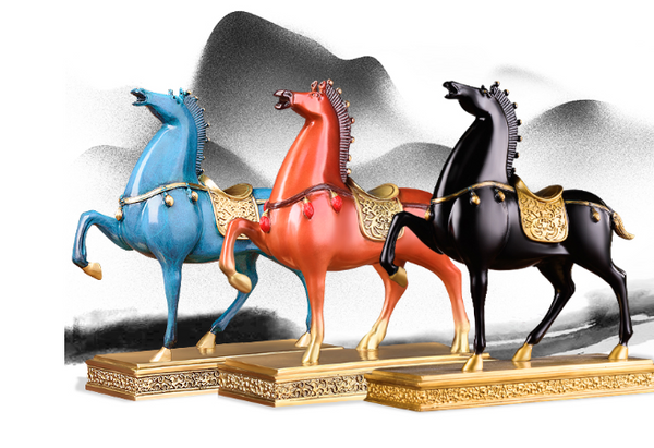 Feng Shui Brass Horse On Stand