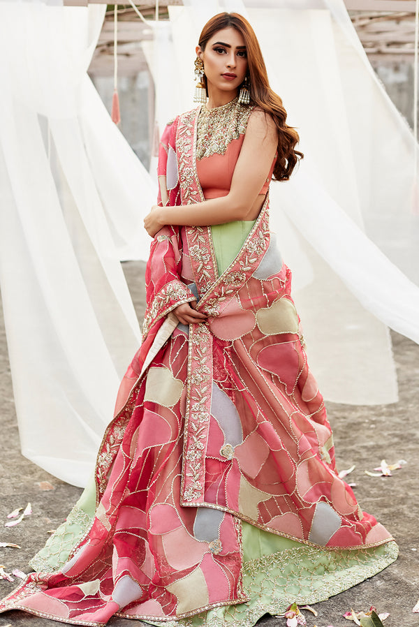 Peach and Mint Lehnga Choli