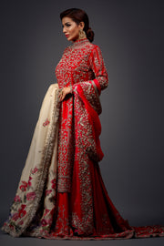 CHERRY RED FARSHI LEHNGA