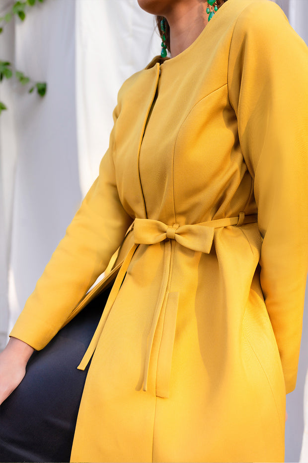 YELLOW FRONT OPEN JACKET