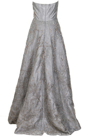 SILVER STRAPLESS SHIFT DRESS