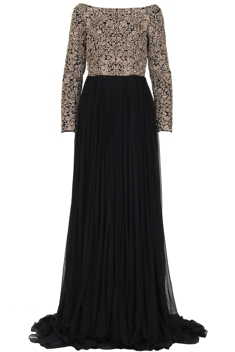 EMBELLISHED BLACK LONG DRESS
