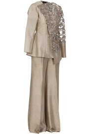 ASYMMETRICAL RAW SILK SUIT