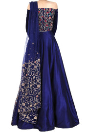 NAVY BLUE VELVET DRESS