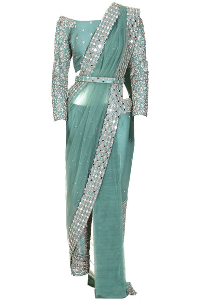 LIGHT GREEN EMBELLISHED SARI