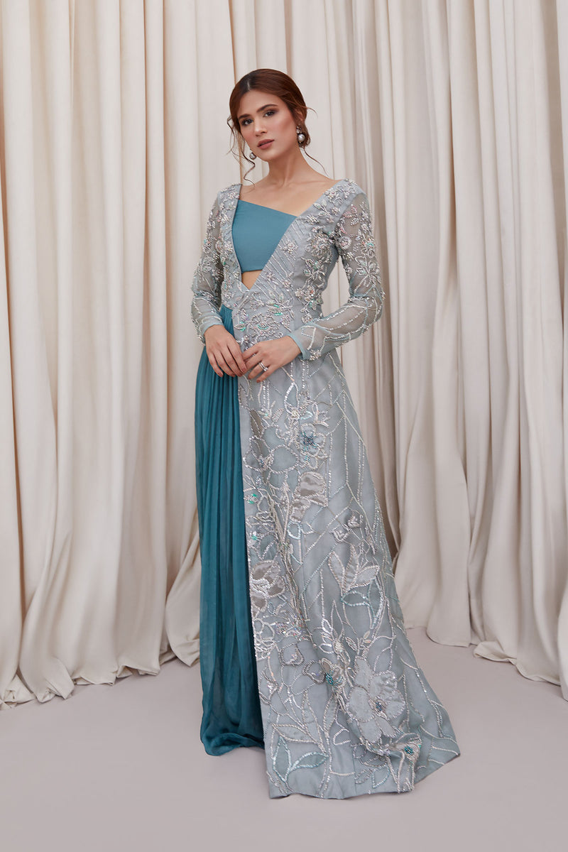 Ira Teal Silk Formal Dress