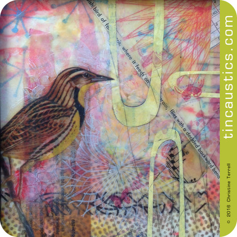 Meadowlark Encaustic collage by Christine Terrell